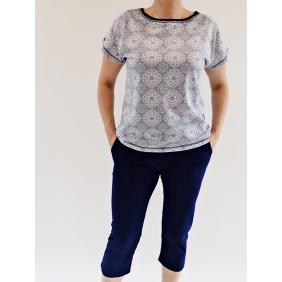 Piżama damska granatowa bawełniana Karolina krótki rekaw 3/4 spodnie