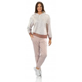 Sportowy komplet dresy bluza spodnie strój domowy MONO róż góra dół