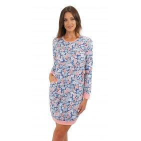 Bawełniana Koszula Nocna Długi rękaw kieszenie ściągacz piżama damska AWA kwiaty